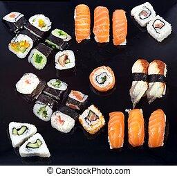 Sushi tray (black plate)