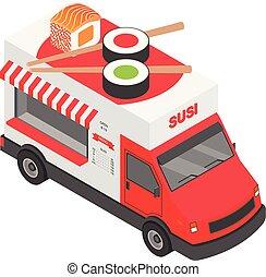 Sushi truck icon, isometric style