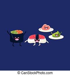 Sushi Tuna And Rice Cartoon Friends