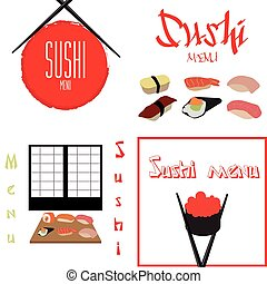 Sushi - Set of backgrounds with traditional elements for...