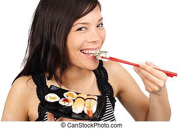 sushi, vrouw