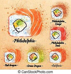 Sushi watercolor Rolls in kraft - Sushi watercolor set hand...