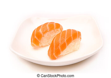 sushi with a salmon