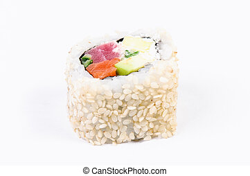 Sushi with avocado and fish on white background