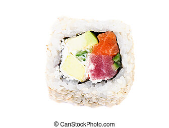 Sushi with avocado and fish