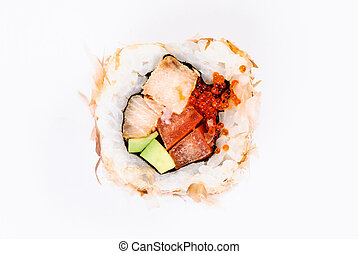 Sushi with avocado, fish and red caviar