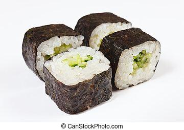 Sushi with avokado and cucumber on white background close up...