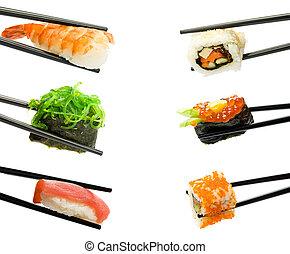 Sushi with chopsticks isolated over white background. Set.