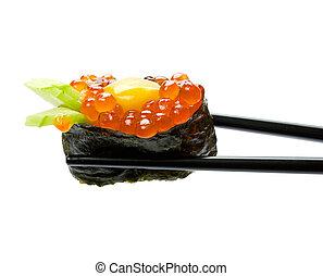 Sushi with chopsticks isolated over white background