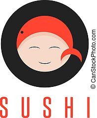 sushi with fish and face of chef vector design template