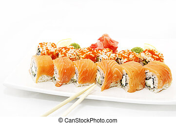 sushi with flying fish roe in the Japanese plate