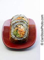 sushi with fried fish