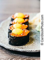Sushi with salmon eggs - Japanese food style