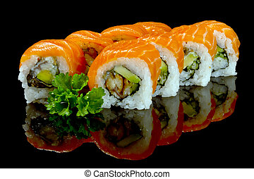 sushi with salmon over black background
