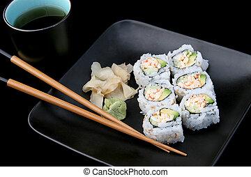 Sushi With Tea on Black
