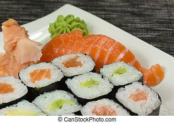 sushiplatte, closeup, nigiri, maki