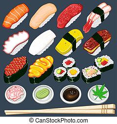 sushiplatte, satz, japanisches , sammlung