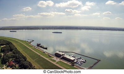 Susnset over canal aerial footage - Aerial drone footage