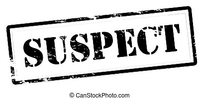 Stamp with word suspect inside, vector illustration