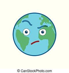 suspecting, globo mondo, isolato, emoticon