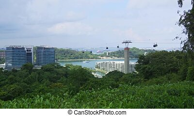 Suspended Cable Cars over Telok Blangah Hill Park, Singapore...