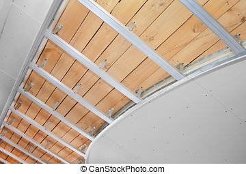 Suspended ceiling in the stage of construction - The new...
