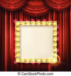Suspended gold frame on the red curtain