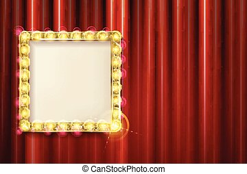 Suspended gold frame on the red curtain background. Square...