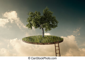 Suspended land with a single tree and a stairway to go up