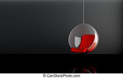 Suspended seat - Modern suspended seat in dark interior room