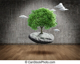 Suspended tree on rock in Empty room