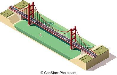 suspensão, isometric, vetorial, ponte