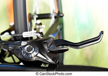 suspensión de tenedor, detalle, frenos, calibrador