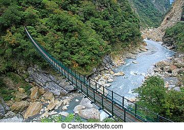 suspensión, taiwán, puente peatonal