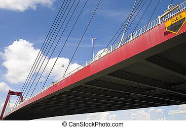 Suspension bridge 18 - Willemsbrug in Rotterdam, Holland
