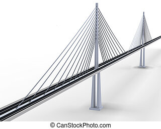 3d rendering of modern suspension bridge on white background
