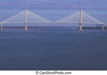 Suspension Bridge - A large suspension bridge in Charleston,...