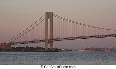 Suspension Bridge At Dusk Or Dawn