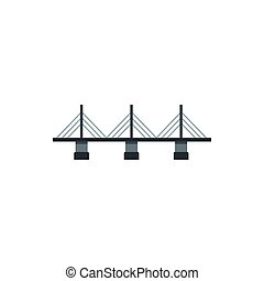 Suspension bridge icon in flat style - icon in flat style on...