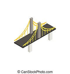 Suspension bridge icon, isometric 3d style - Suspension...