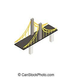 Suspension bridge icon, isometric 3d style