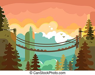 Suspension bridge in jungle design flat. Nature green park,...