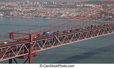Suspension bridge in Lisbon - Suspension bridge Ponte 25 de...