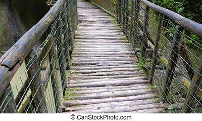 Suspension bridge in the Grotto del Cagleron