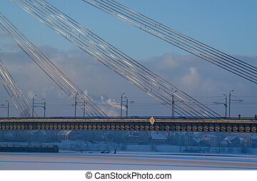 Suspension bridge in winter season, Riga.