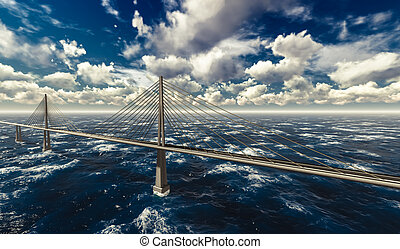 Suspension bridge on stormy ocean - 3d rendering of modern ...