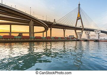 Suspension bridge over river front