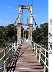 suspension bridge over river in rainforest