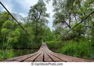 suspension bridge over river.