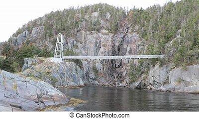 Suspension bridge over river - View of suspension bridge...